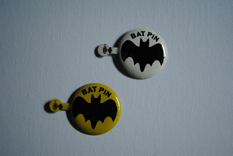Union Label Vintage 1960/'s Batman Bat Pin Tab Pin Button Campaign Style Pin Lithographed Fold Over Badge