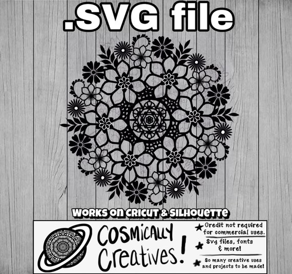 Flower Mandala Style Zentangle Svg File Cut Files Svg Clipart Etsy