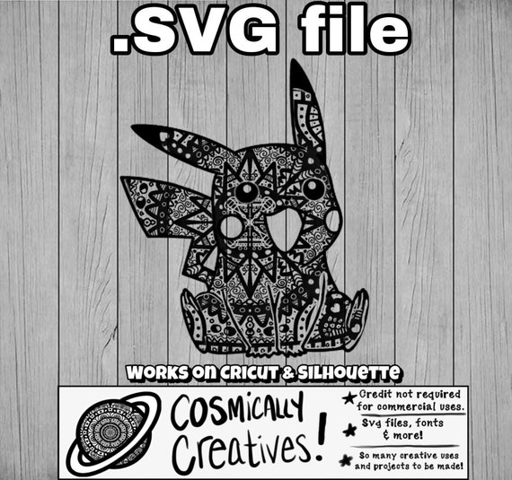 Pikachu Pokemon Mandala Style Zentangle Svg Files Clipart Etsy