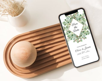 ADELINE Eucalyptus Floral Electronic Wedding Save the Date