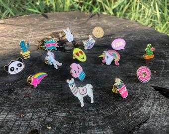 Assorted Lapel PinBack cute succulent panda cookie llama unicorn lapel pin sets