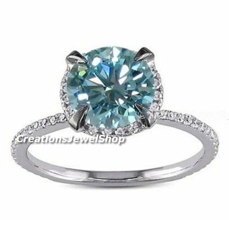 2.00 CT Halo Aqua Blue Moissanite Engagement Ring Moissanite Solitaire Wedding Ring Unique Halo Anniversary Ring Classical Ring For Womens