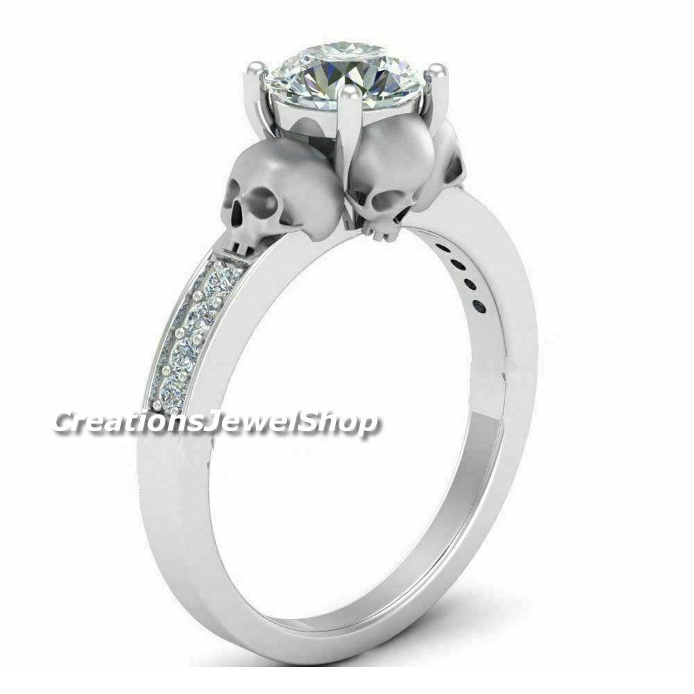 Gothic four skull face wedding ring 197 CT round brilliant image 0
