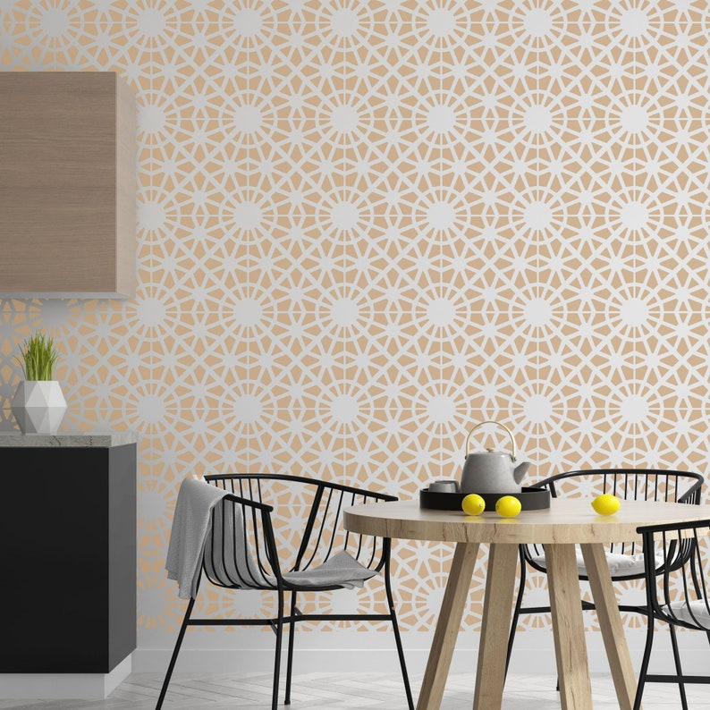 BAIRRO Tile Reusable Plastic Stencil  Moroccan Geometric  Floor Wall