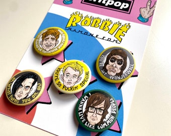 Britpop Buttons Set: Radiohead, Blur, Oasis, Suede, Pulp, 90's Alternative Rock band badges, Pins for your clothes, Uk England Mod Music Fan