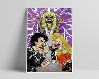 Iron Maiden Art Print, Iron Maiden Poster, Heavy Trash Metal Music Art, Wall Home Decor Rock Illustration, Eddie the head fans, Up the Irons