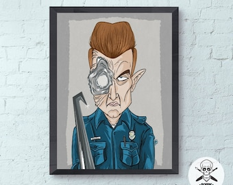 Terminator Judgment Day Film Art Print, T-1000 Arnold Schwarzenegger Illustration, 80s Classic Movie Poster, Wall Home and desk Decoration