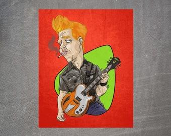Queens of the Stone Age Poster, Josh Homme Art Print, QOTSA music poster, Wall Home & Desk Decor, Guitar Hero Illustration, Punk Rock music