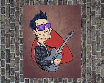 MUSE Art Print, Matt Bellamy Poster, Muse rock band poster, Wall Home and desk decor, Illustration for music lovers, Guitar Hero Art print