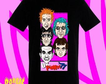 UK Punk 77 T-Shirt, 1977 Punk Rock Short Sleeve Shirt, Sex Pistols Shirt, Origina gift for Punk Rock Music Lovers, The Damned Black T-Shirt