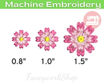 Mini Cosmos Flower Machine Embroidery Design | Cute Pink Flower | Tiny Flower | Small Flower | 4x4hoop | Instant Download | 3 Sizes