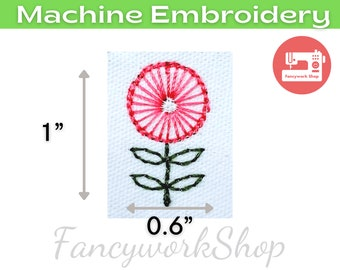 Mini Pink Flower Machine Embroidery Design | Mini Flower | Tiny Flower | Small Flower | 4x4hoop | Instant Download | 1 inch