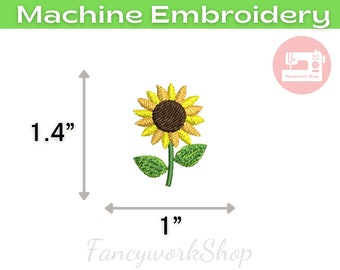 Mini Sunflower Machine Embroidery Design | Mini Flower | Tiny Flower | Small Flower | 4x4hoop | Instant Download | 1 inch