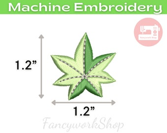 Mini Japanese maple 1.2 inch Machine Embroidery Design | Leaf embroidery design | 4x4hoop | Instant Download