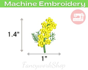 Mini Canola Flower  Machine Embroidery Design | Yellow Flower | Small Flower | Botanical Flower | 4x4hoop | Instant Download