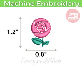 Mini Rose Machine Embroidery Design | Mini Flower | Tiny Flower | Small Flower | 4x4hoop | Instant Download | 1 inch