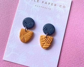 Navy /& Mustard Earrings  Polymer Clay Earrings  Statement Earrings