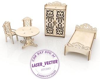 Furniture for dolls Barbie laser model, vector model, vector cut file, digital vector art, cnc file, cnc pattern, laser cut file, svg ai dxf