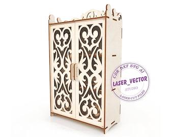 Cupboard for Barbie laser model, furniture for dolls vector model, vector cut file, digital vector art, cnc file, cnc pattern laser cut file