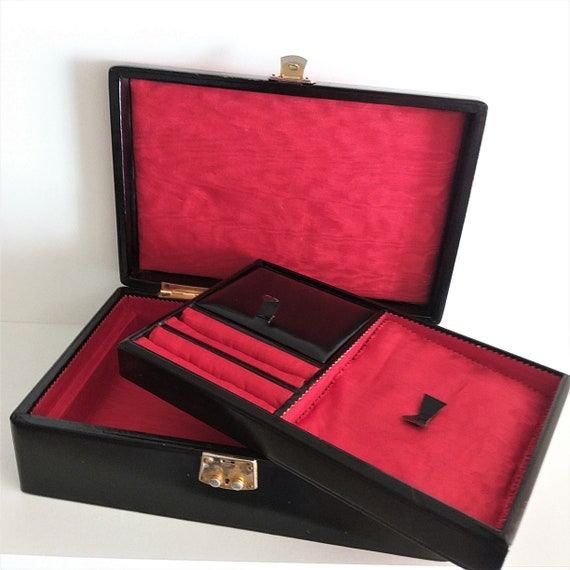 Vintage Leather Jewelry Box, Red and Black Jewelry