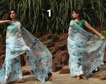 Heavy Organza Silk Zumka Tassels Work Saree with Blouse Piece Indian Ethnic Traditional Sarees Designer Wedding Women Sari Ladies Party Wear
