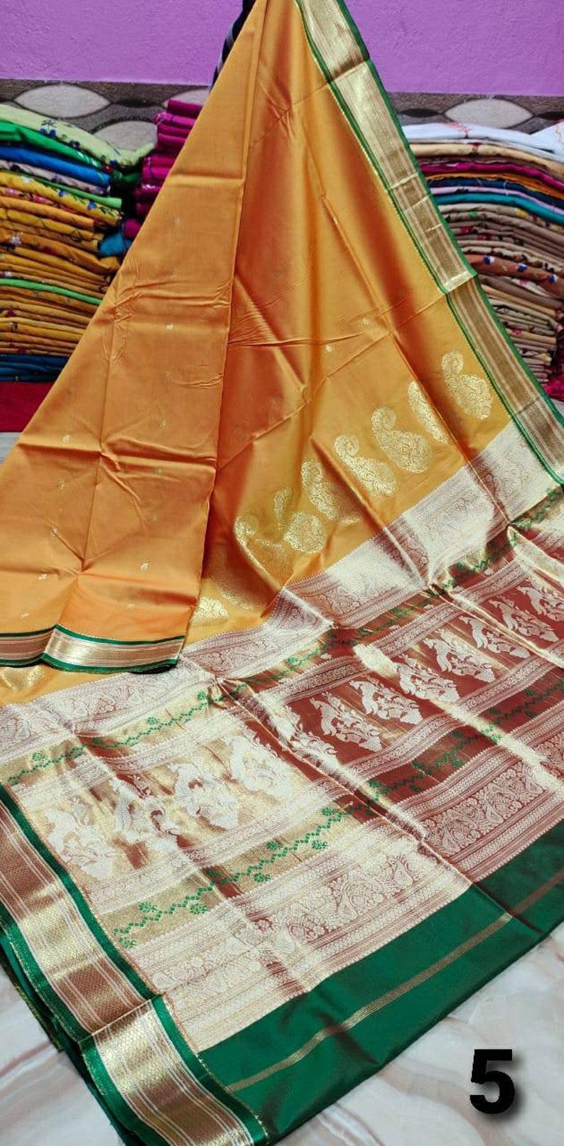 Paithani Silk Saree with Rich Pallu with Blouse Piece Traditional Indian Sarees Multicolor Beautiful Designer Wedding Sari Women Party Wear