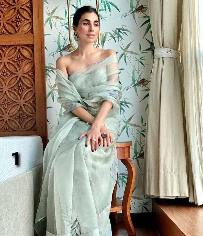 Digital Printed Soft Organza Silk Saree with Blouse Piece Indian Ethnic Traditional Sarees Designer Wedding Women Sari Ladies Party Wear