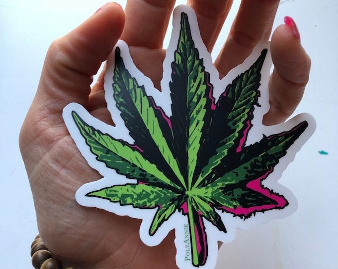 Cannabis Leaf Art Sticker