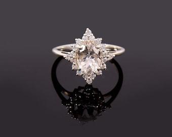 White Topaz Ring, Natural White Topaz Ring, Engagement Ring, 925 Sterling Silver, Ring For Women, Clear Stone Ring, White Topaz Gemstone