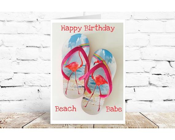 card. Happy Birthday Beach Babe Birthday Card