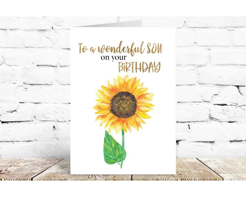 for him Son\u2019s birthday card sunflowers