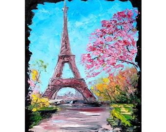 Paris Painting Eiffel Tower Art Original Painting Paris Wall Art Cityscape Artwork 9 By 12 By ArtByVarduhi