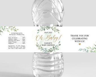 greenery baby shower, water bottle label template, foliage, greenery and gold, personalization, printable, EDITABLE, instant download