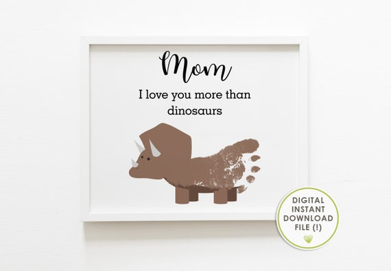 Footprint art for Mother's day Mom I love you more than