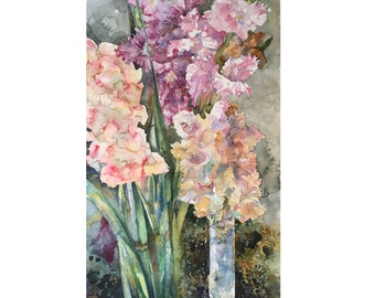 Watercolor Flowers gladioli pattern , Original Watercolor painting