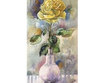Original Watercolor painting Yellow rose