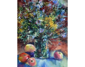 Watercolor Bouquet of meadow flowers and fruits, Watercolor flowers, Original painting