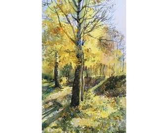 Watercolor Yellow tree, Original watercolor painting Autumn forest, Watercolor autumn tree, Indian summer
