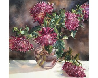 Watercolor Dahlias, Original watercolor painting, Watercolor flowers, Painting of flower, Autumn bouquet