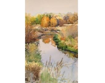 Original Watercolor Painting Autumn river, Autumn landscape, Russian Autumn, Landscape with river, autumn landscape watercolor original