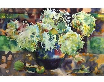 Watercolor Hydrangea in a vase, Original watercolor painting, Watercolor flowers