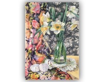 Watercolor Daffodils and marshmallows Original painting, Watercolor flowers