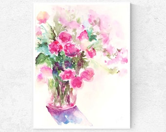 Pink Wildflower Rose Watercolor Original Painting Pink Roses Floral Watercolor Bouquet Pink Wildflower Painting Impressionist Flower Artwork