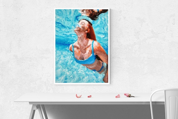 Art Glass Figure Ocean Swimmer Girl In Autumn Colors
