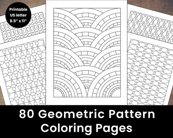 80 Printable Geometric Pattern Coloring Pages Etsy