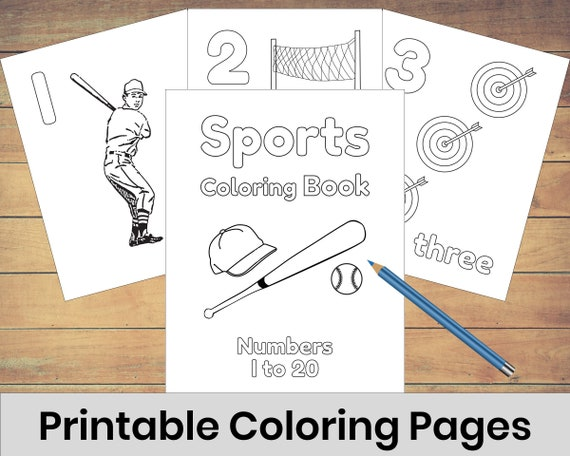 Printable Sports Themed Coloring Pages For Kids Help Learn To Etsy