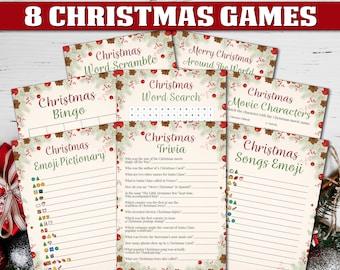 8 Christmas Games Bundle, Printable Christmas Games, Christmas Printables, Xmas Games