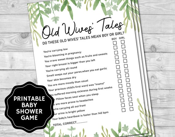 Old Wives Tales Greenery Baby Shower Games Baby Shower Games