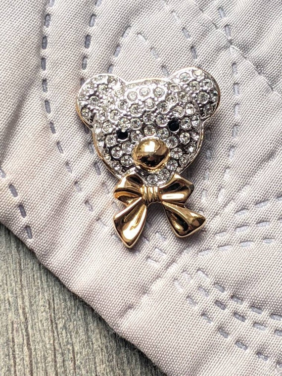 SALE Vintage Rhinestone Teddy Bear Brooch Pin Two Tone Jewelry Fashion Accessories Mothers Day Valentines Gift SALE