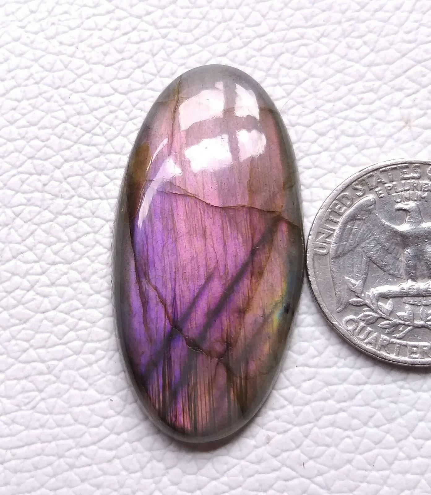 Purple Labradorite Cabochon-Purple Labradorite Smooth Heart Cabochon-47x57.5x8.5 MM Labradorite Cabochons-Purple Flashy-Wholesalegems